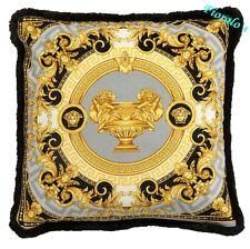 """Versace La Coupe Des Dieux Medusa Pillow - 17.7"""" - Grey/Black"""