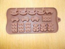 15 Cavity Silicone Sweet Mould Chocolate Ice Soap CAR BRICK ROCKING HORSE TEDDY.
