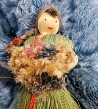 Vintage Handmade Straw Lady Figurine holding Flowers