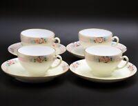 Set of 4 Vintage Porcelain Hand Painted Pastel Floral Design Cups and Saucers
