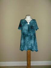 White Stag Women's Printed Tunic Short Sleeves Sharkbite Hem Blue L(12-14) NEW