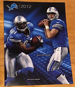 Detroit Lions 2012 NFL Season Ticket Folder Matthew Stanford / Calvin Johnson