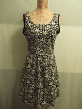 NEW WITH TAGS BLACK & WHITE FLORAL PRINT COTTON DRESS SIZE 12 BY DAUOD - OOAK