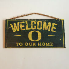 "Oregon Ducks Welcome To Our Home - Wood Wall Sign 12"" x 6"" Decoration Gift"