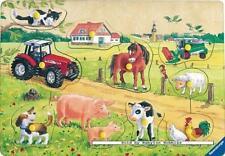 10 st puzzel: Houten puzzels - Bont gekleurde boerderij (Dieren, Katten, Honden)