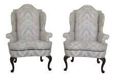 46454EC: Pair SOUTHWOOD Queen  Anne Mahogany Wing Chairs