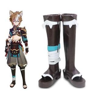 Game Genshin Impact Gorou Cosplay Shoes Brown High Boots Halloween Shoe