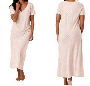NEW M&S ladies Pink polka V neck long summer cotton dress Nightdress Nightie