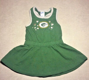 Green Bay Packers Toddler Dress Size 18M Official NFL, Green/Gray Cotton