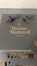 Bnib Vivienne Westwood Swarovski Diamanté Black Orb Neo Bas Relief Earrings