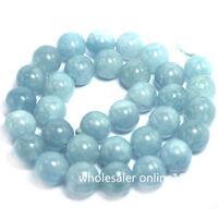 "8mm Natural Aquamarine Round Genuine Gemstone Loose Beads 15"" Strand AAA"