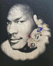VTG. MICHAEL JORDAN BLING CHAMPIONSHIP 6 BEADED RINGS GRAPHIC T-SHIRT-4XL