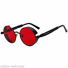 Steampunk Gothic Retro Round Circle Sunglasses Black Metal Frame Red Lens C12