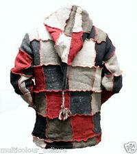 Pixie Hoodie Festival Patchwork Hippy Wool Pointy Hood Fleece Jacket,Hippie Boho