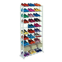 10 Tier 30 Pair White Shoe rack Storage Organiser Boot Stand Tower Shelf Holder