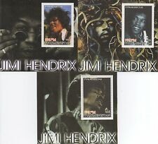 Guitarra icono Jimi Hendrix Mnh Sello sheetlet Lote-tres hojas de sellos