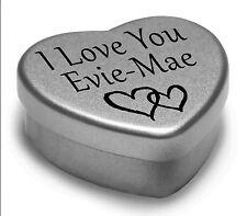 I Love You Evie-Mae Mini Heart Tin Gift For I Heart Evie-Mae With Chocolates
