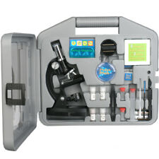 AMSCOPE 52pc 120X-1200X Starter LED Microscope & Science Kit for Kids (Black)