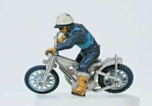 Britains Original Plastic #9684 Speedway Motorcycle Rider (BLUE Bib) ...!!