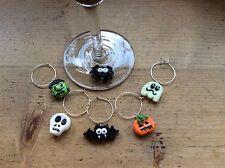 halloween wine charms 6 Handmade Party Spooky Spider Pumpkin Bat Ghost Ghost