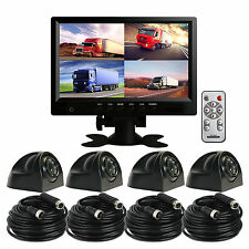"9"" Quad Monitor 4x Metal Case 4pin Side View Reversing CCD Camera Night Vision"