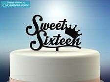 """Sweet Sixteen"" Black - 16th Birthday Cake Topper - Made by OriginalCakeToppers"