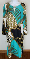 Sunny Leigh Dress Knee-Length Tunic Mediterranean Print Long Sleeve Size XL