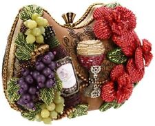Mary Frances Perfect Pairing Beaded 3D Wine Bottle Goblet Grapes Flowers Handbag