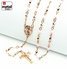 "Fashion Rose Gold Pink 4mm Bead Guadalupe & Jesus Cross 25"" Rosary HR 700 RGLP"