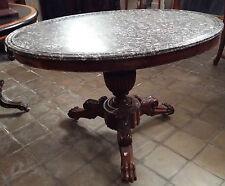 Tavolo ovale da centro in legno di mogano e piano in marmo grigio sant'Anna