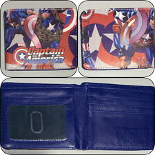 Captain America Blue Bi-fold Wallet Boys Girls Mens DC Superhero Cosplay