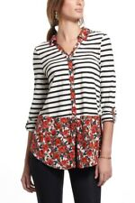 Postmark Anthropologie Woven Borders Stripe Floral Button Down Size Small