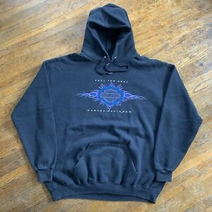 Vintage 90s Harley Davidson Feel Heat Hoodie Sweatshirt Men Size XL Biker USA