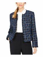 CALVIN KLEIN Womens Blue Fringed Printed Jacket Petites Size: 12P
