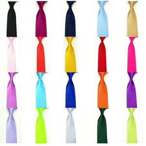 Men Classic Skinny Solid Color Satin Necktie Business Wedding Formal Slim Tie