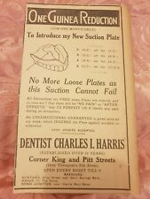 Dentist Charles I. Harris, Sydney, 1923 Advertisement
