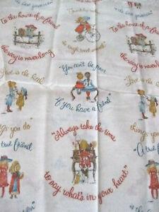 Vtg RARE Holly Hobbie Fabric American Greetings Manes 44x47 Love Friends New #cc
