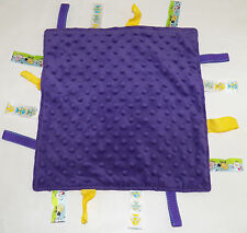 "Dark Purple Baby Security Blanket Lovey Fish Farm Animals Yellow Tags 12"" x 12"""
