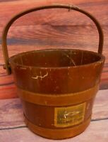 Wood Banded Antique Wood Firkin Bucket Currier Ives Label Vintage w Handle