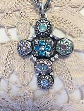 Sweet Romance New  Etheria Cross Necklace Crystals Ornate