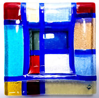 Modern Art Glass Dish Glassware Bowl Plate Platter 9x9 Inch Colorful