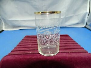 Antique Pre Prohibition Leidiger Brewing co. Beer Glass Merrill, WI. Acid Etched
