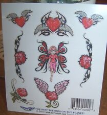 Lot of 25 Sheets Temporary Tattoos Pink Red Glitter Fairy Heart Wing Party Favor