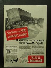 1945 WWII Old vintage PRINT ADS Warner Electric Brakes tractor trailer truck ad