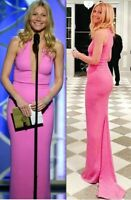 New $3,995.00 Michael Kors Collection Plunge Illusion Pink Dress Gown IT 40 US 4