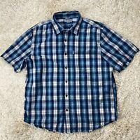 Carhartt Men's XL Blue Plaid Short Sleeve Cotton Shirt