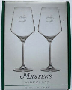 2021 MASTERS WINE GLASS SET OF 2 AUGUSTA NATIONAL 14OZ GLASSES NEW