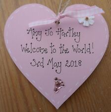 Birth Baby Christening Gift baby girl keepsake present personalised heart plaque