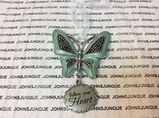Follow Your Heart Butterfly New Ganz Zinc Silver Ornament Measures 3 Inches