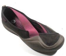Crocs Women's Brown/Purple Textile/Elastic Strap Mary Janes Slip On Flats 7